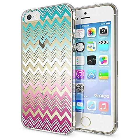 iPhone SE 5 5S Coque Protection de NICA, Housse Motif Silicone Portable Premium Case Cover Transparente, Ultra-Fine Souple Gel Bumper Etui pour Apple iPhone 5 5S SE, Designs:Colorful Lines