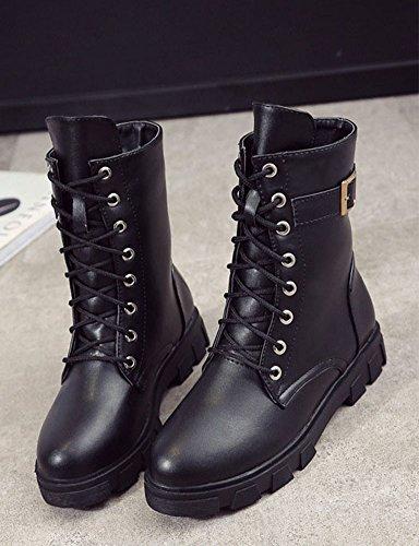 Pu Confort Combat Chaussure Noir Bottine Mollet Mi Hiver Automne 0FwnqdIBxq