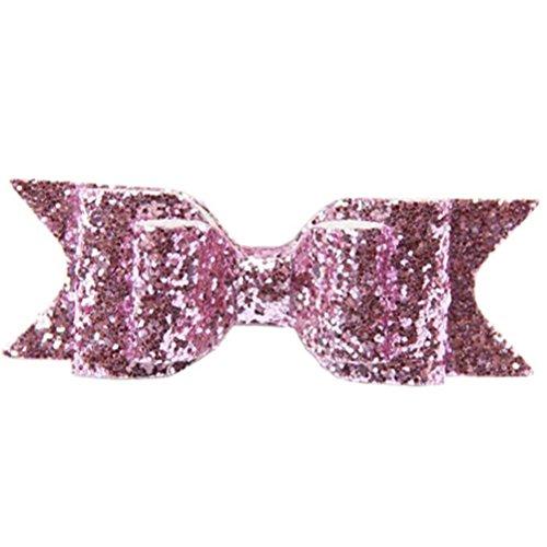 Pixnor Kinder Mädchen Frauen Haar Clips große Bowknot Haarspange Haar Zubehör Glitter Haar Bögen Haar Pins Pink (Glitter Haar Bögen)