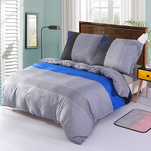 DECMAY Bettwäsche 2 teilig Bettbezug 135x200cm & Kissenbezug 80x80cm Weiche Atmungsaktive Faser Bettwäsche Set mit Streifen Muster für Single Steppdecke, Blau-Grau Streifen (Blau Muster Bettwäsche)