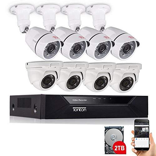 [Audio Aufnahme] Tonton Full HD 1080P Video Audio Überwachungskamera Set CCTV System TVI 2.0MP DVR Recorder mit 8 Außen Dome/Bullet 1080P Überwachungskamera 2TB Festplatt + kostenlose Mikrofon System - Dvr Security System