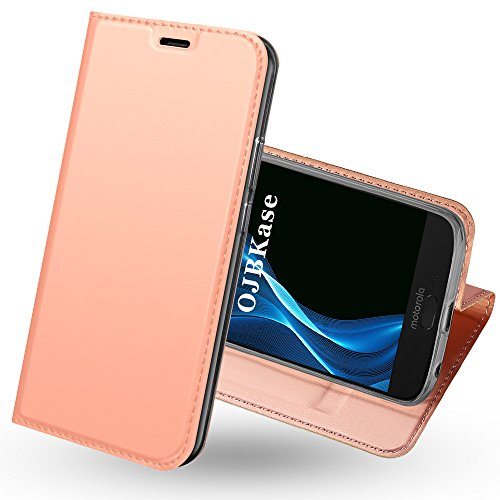 OJBKase Moto G6 Hülle, Premium Slim PU Leder Handy Schutzhülle [Standfunktion] Hülle/Cover /...