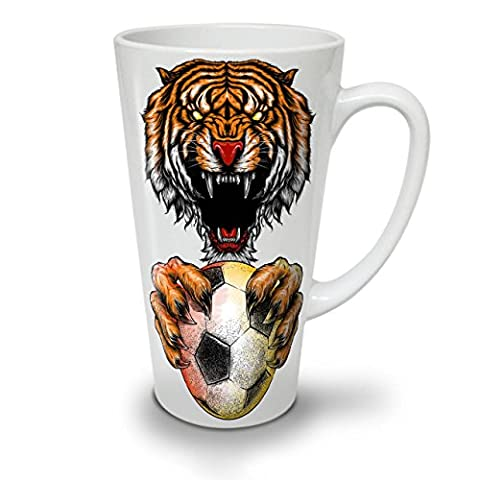 Sport Ball Tiger Animal White Ceramic Latte Mug 17 oz | Wellcoda