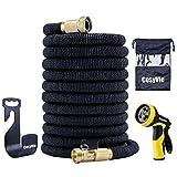 CosyVie Kit de Tuyau d'Arrosage Extensible jusqu'à 15 Mètre(50ft) Tuyau Flexible et Retractable avec Pistolet de 9 Fonctions Professionnels pour Jardin d'Arrosage(Crochet de Tuyau d'Arrosage Inclus)