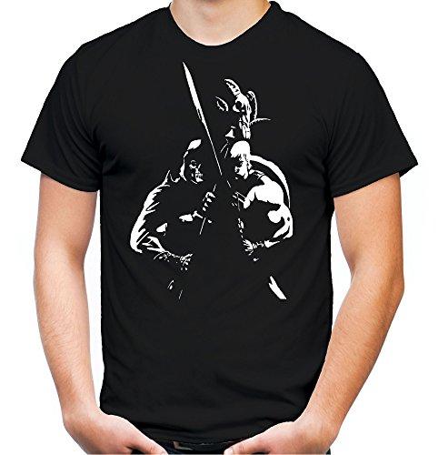 Skeletor vs He-Man Männer und Herren T-Shirt | Spruch Greyskull Retro Geschenk (XXXL, Schwarz)