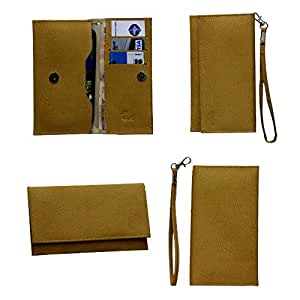 Jo Jo A5 G8 Leather Wallet Universal Pouch Cover Case For Micromax Canvas Juice 2 Light Brown