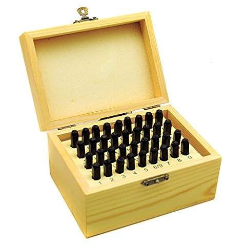 3mm 36pc Schreiben & Anzahl Stempel Set Metall Punch Briefmarken TE132