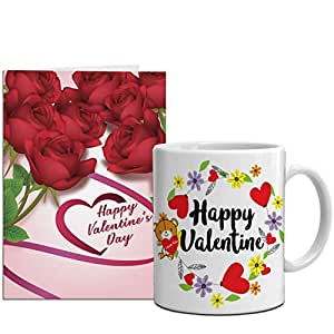 Aart Store Valentine Week Combo Gift Set for Every Valentine Week Day Best Printed Coffe Mug 350ml, One Greeting Card Gift for Valentine Week