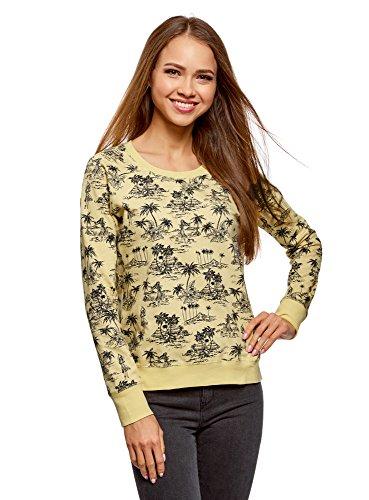 oodji Ultra Damen Bedrucktes Sweatshirt Basic, Gelb, DE 40 / EU 42 / L