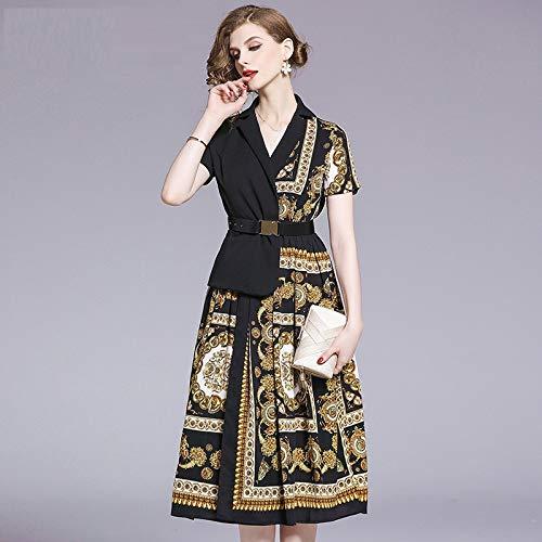 ze Büro Dame Gekerbte Patchwork Print Kleid Frauen Vintage Kurzarm Party Kleid A-Linie Einteiliges Kleid Mit Gürtel M ()