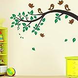 MUCHENG Hintergrundwandaufkleber, Wohnzimmerschlafzimmer-Dekorationsaufkleber, Kinderzimmerwandaufkleber, Vogel, Baumast