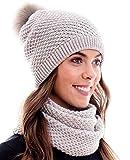 Hilltop Winter Kombiset aus Schal und passender Strickmütze (Beanie mit Pompon) in 100% Baumwolle, Winter Set:Hellgrau
