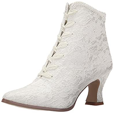 Fabulicious Damen VICTORIAN-30 Stiefel, Elfenbein (Ivory Satin-Lace), 36 EU