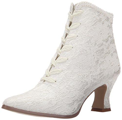 Fabulicious Damen Victorian-30 Stiefel, Elfenbein (Ivory Satin-Lace), 40 EU (Viktorianische Stiefel Schuhe)