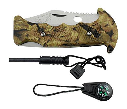 Elk Ridge Couteau de Poche Hunter Jungle Camouflage avec Pierre à feu et Boussole, Longueur cm : 13,97 fermé, elkr de 1048