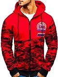 BOLF Herren Kapuzenpullover mit Reißverschluss Hoodie Camouflage Military Street Style J.Style 33011-A Rot M [1A1]