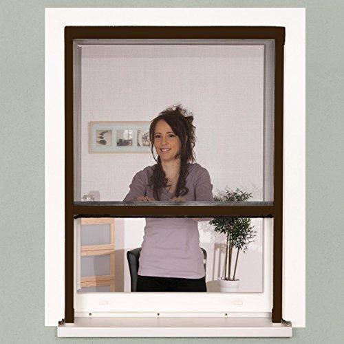 Insektenschutz Fenster Rollo 130 x 160 cm braun Alu-Bausatz Klemmrollo + Fiberglasgewebe, kürzbar, ohne Bohren, stufenlos arretierbar