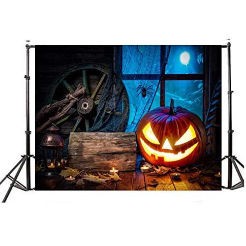 VEMOW Halloween Party Dekoration Kulissen Kürbis Vinyl 5x3FT Laterne Hintergrund Fotografie Studio Wandaufkleber 150 * 90cm(Mehrfarbig, 150...