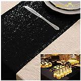 ShinyBeauty 33x 213,4cm Chemin de Table Noir Noir couvertures de Table pour fête de Mariage de Douche Décorations C1107