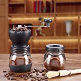 YJF Tragbare manuelle Kaffeemühle mit Keramikschleifkern Glasglas Geschenk Sealing Cup