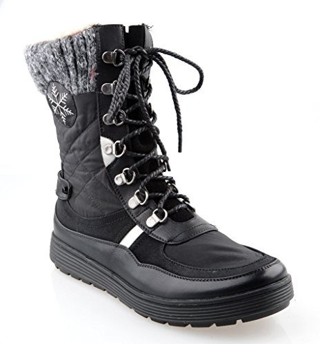 Eyekepper Frauen Comfort Round Toe Pelzfutter Lace Up Zipper Stacked Flache Schnee Ankle Boots Schwarz