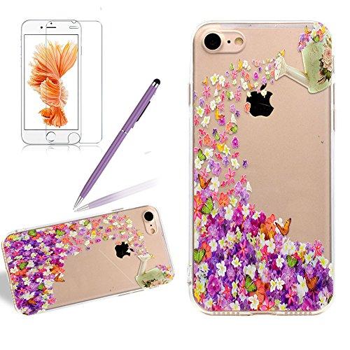 Silikon Transparent Hülle für iPhone 5S, Girlyard Weiche TPU Case Schmetterling Blumen Muster Entwurf Ultra Dünn Flexible Crystal Klar Backcover Anti-Kratz Anti-Fingerabdruck Schutzhülle für Apple iPhone 5 5S SE