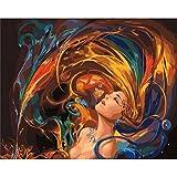 Salpicaduras De Fuego Coloración De Cabello Por Números En Lienzo Decoración De Pared Pintura Para Sala De Estar Sin Marco 40X50CM
