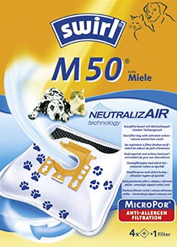 Swirl NeutralizAir M50 Staubsaugerbeutel (für Miele Staubsauger, 4 Beutel, 1 Filter)
