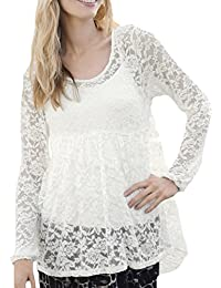 TopsandDresses Ladies UK Size 8-18 Black or Ivory Lace Top