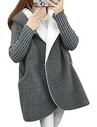 Kasen Mujer Abrigo Largo Abrigo Chaqueta con Capucha De Piel Sintética Outerwear Espesar