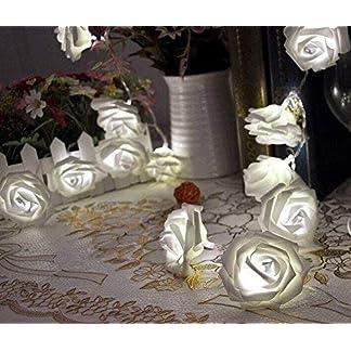 HYVVC 20 LED con pilas Flor Rosa Luz Garland Boda Fiesta en el jardín Decoración navideña Luz Garland Multicolores 5#
