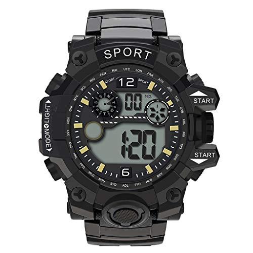 Lazzgirl Luxus Männer Analog Digital Military Sport LED Wasserdichte Armbanduhr Neu(Noir,One Size)