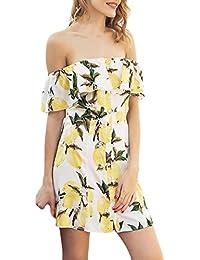 OverDose Vestido Estampado de impresión de limón de Fruta de Manga Corta Casual de Moda de