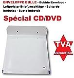 100 Enveloppes a Bulles blanche PRO SPÉCIAL CD DVD 180 x 165 mm (dimension pochette intérieure) type CD enveloppe matelassé Format spécial CD / DVD blanc 200 x 185 + 50 mm idéal comme pochette protection pour envoi d'objet CD, DVD, jeu - enveloppe d'expédition Référence ENVB10B