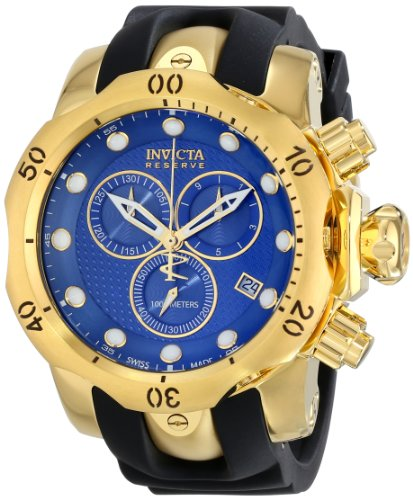 Invicta Venom Men's Quartz Watch with Blue Dial Chronograph display on Black Pu Strap 16148