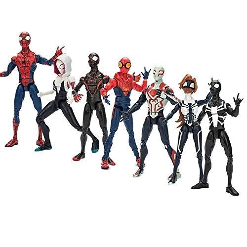 BNV-WUNDERS Marvel Avengers Legends 7er-Set: Marvel Spiderman-Spielzeug Spiderman-Figur, Spider-Gwen, Pullover Spiderman, Spiderman 2099, Spinnenmädchen Girl Arbeiter Spiderman-Actionfiguren Kinder Spider Girl