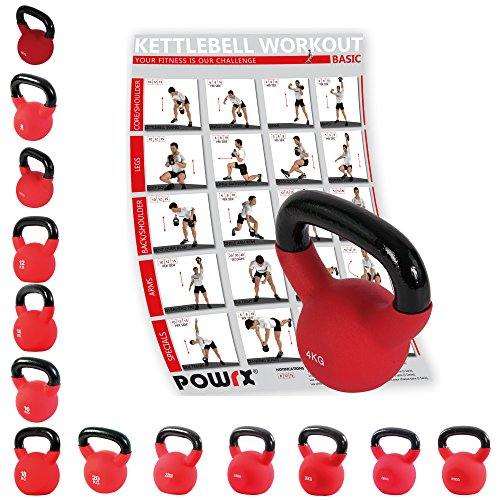 POWRX Kettlebell - Pesas rusas hierro fundido con revestimiento de neopreno 4 Kg, 6 Kg, 8 Kg, 10 Kg, 12 Kg, 14 Kg, 16 Kg, 18 Kg, 20 Kg