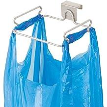 mDesign Soporte para bolsa de basura – Práctico colgador de puerta para bolsas de residuos – Cuelgabolsas fácil de colocar sobre la puerta – Porta bolsas para remplazar el cubo de basura – plateado mate