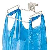 mDesign Müllsackhalter aus Metall – praktische Halterung für Müllsäcke und Tüten in der Küche – einfach zu montierender Sackhalter zum über die Tür hängen – mattsilber