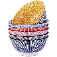 vancasso Juego de Cuencos de 6 pcs Tazones de Ramen de Estilo Japonés Pintado a mano, Tazón Desayuno, Cereal, Tazón de Sopa, Porcelana, Colores