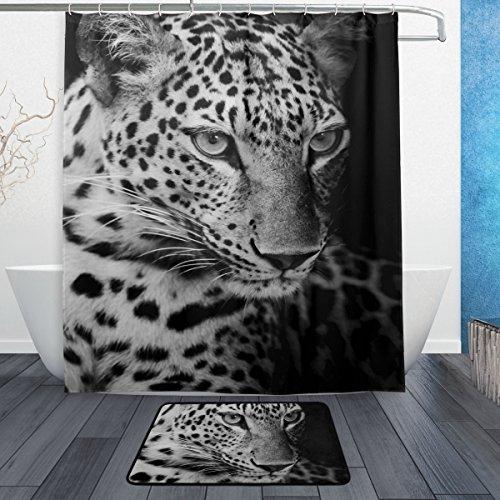 ALAZA Leopard-Wilde Tier-Duschvorhang 60 x 72 Zoll mit Badematte Teppich & Haken, schimmelresistent und Wasserdicht Polyester Dekoration Badezimmer-Vorhang Set