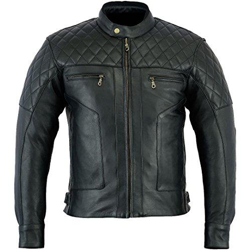 Bikers Gear Australia Limited Baron Diamond qualità premium in morbida pelle giacca da moto, nero antracite, taglia L