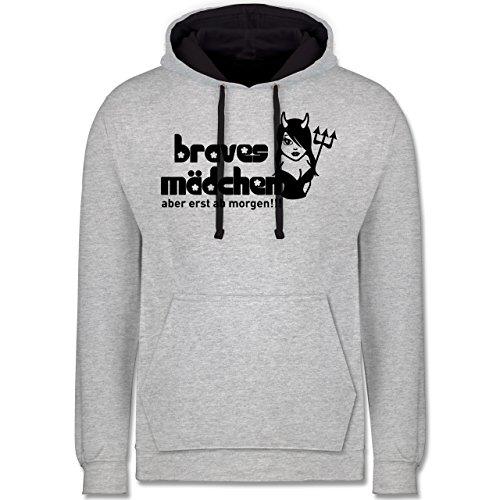 Shirtracer Typisch Frauen - Braves Mädchen - Aber erst ab Morgen - 3XL - Grau meliert/Navy Blau - JH003 - Kontrast Hoodie