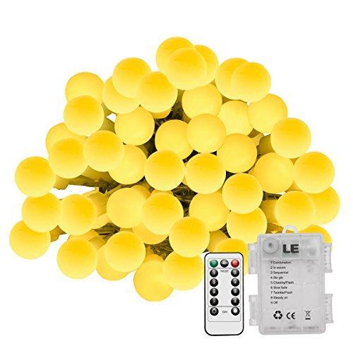 LE Guirnalda de luces 60 LED 8 Modos, a Pilas, Temporizador, Resistente al agua IP44, Decoración de hogar, bares, cafetería, Navidad