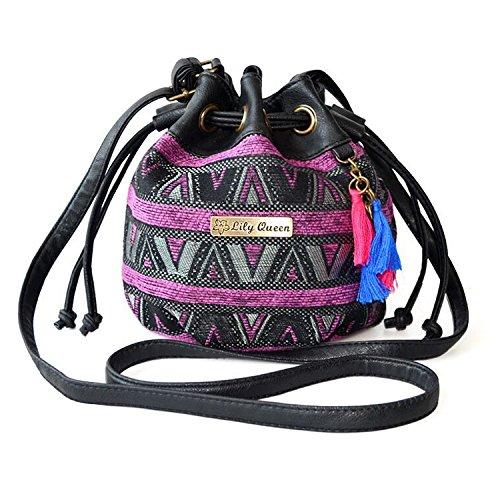 ethnische-leinwand-drawstring-mini-bucket-rucksack-umhangetasche-satchel-balck-totem