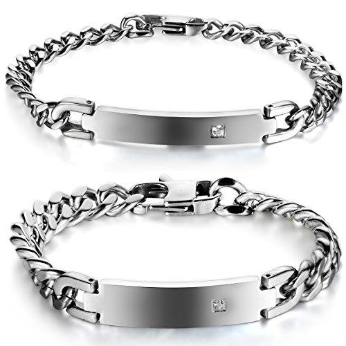 JewelryWe Schmuck 2 Poliert Edelstahl Unisex Armbänder Panzerarmband Partnerarmband Armkette Armreif Herren Damen Armband, Silber, mit Geschenk Tüte - kostenlos Gravur