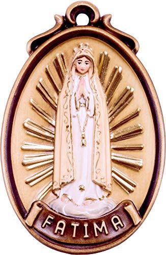 Ferrari & Arrighetti Medaglione Madonna Fatima - Demetz - Deur - Statue aus Holz von Hand bemalt. Leuchthöhe 6 cm (Fatima-statue)