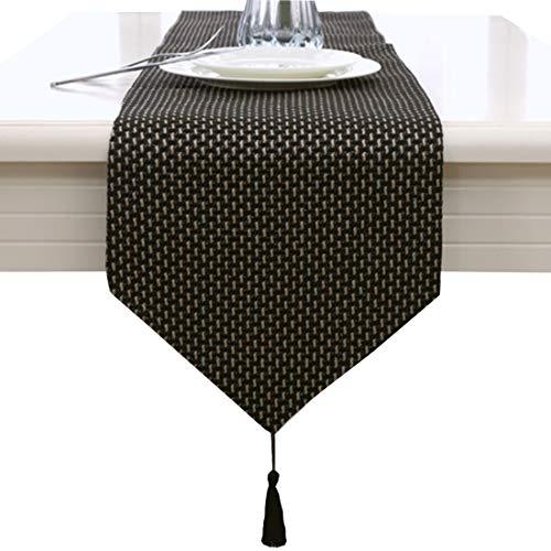 Schwarz handgemachte Webart Hause dekorative Partygeschenk Quaste Tischläufer 33cm x 210cm