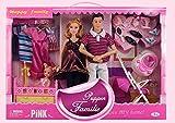 Brigamo 83229 - Puppenfamilie mit Mama, Papa und Babypuppe mit Puppenbett und Puppenwagen