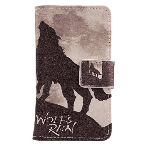 Lankashi PU Flip Leder Tasche Hülle Case Cover Schutz Handy Etui Skin Für Archos Sense 47X 4.7 (Wolf Howl Design)